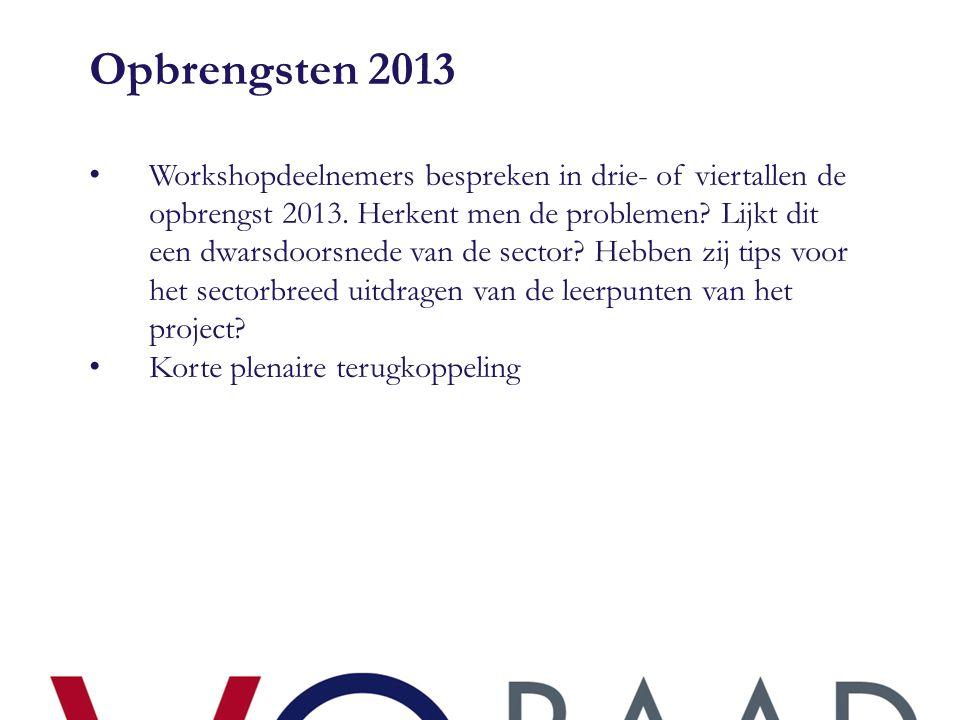Opbrengsten 2013 • Workshopdeelnemers bespreken in drie- of viertallen de opbrengst 2013. Herkent men de problemen? Lijkt dit een dwarsdoorsnede van d