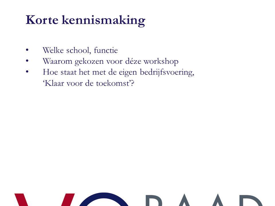Korte kennismaking • Welke school, functie • Waarom gekozen voor déze workshop • Hoe staat het met de eigen bedrijfsvoering, 'Klaar voor de toekomst'?