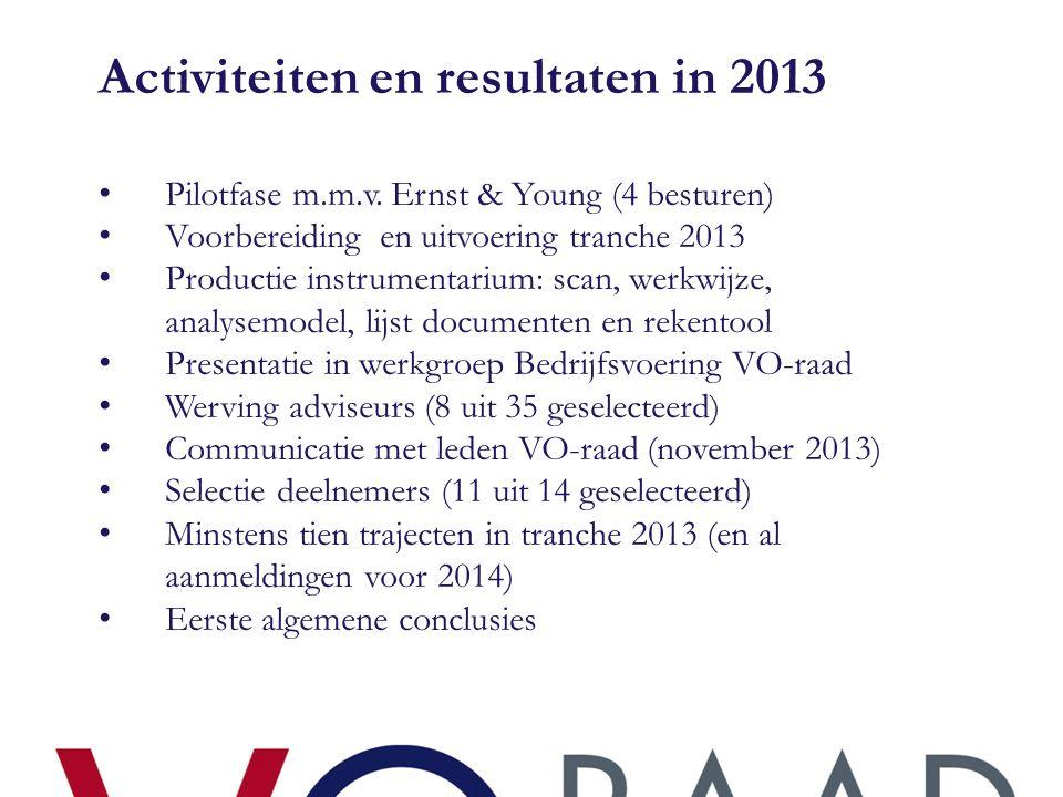 Activiteiten en resultaten in 2013 • Pilotfase m.m.v. Ernst & Young (4 besturen) • Voorbereiding en uitvoering tranche 2013 • Productie instrumentariu