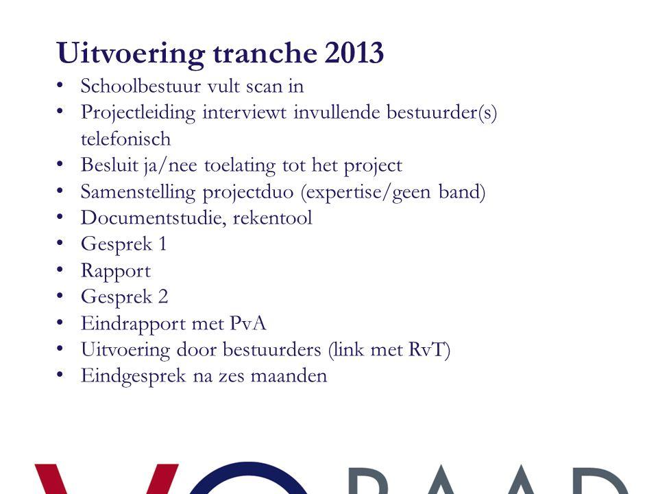 Uitvoering tranche 2013 • Schoolbestuur vult scan in • Projectleiding interviewt invullende bestuurder(s) telefonisch • Besluit ja/nee toelating tot h