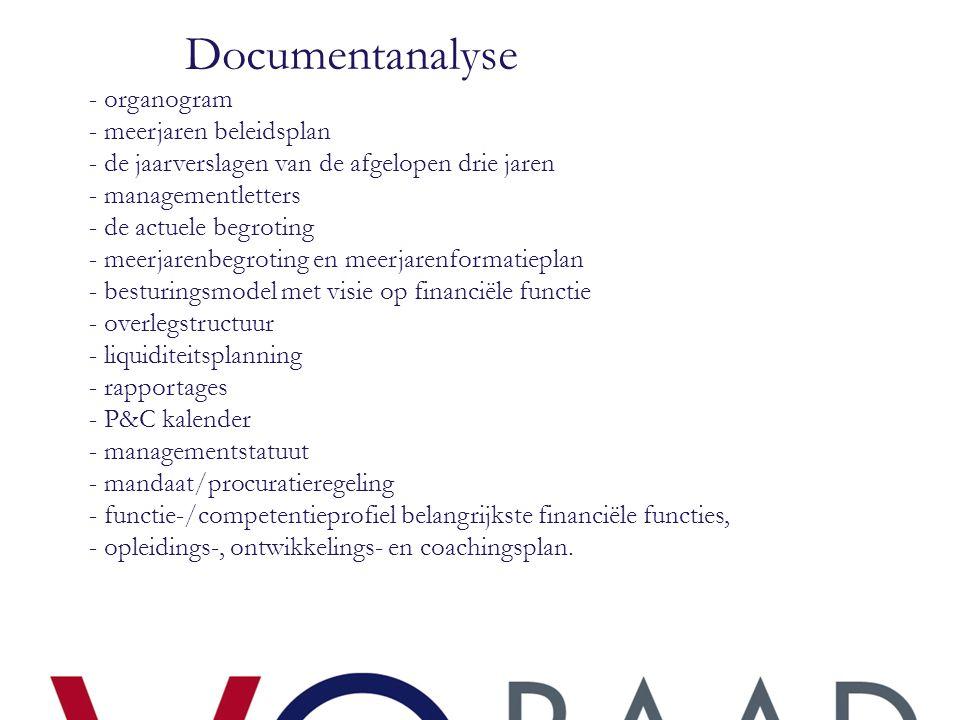 Documentanalyse - organogram - meerjaren beleidsplan - de jaarverslagen van de afgelopen drie jaren - managementletters - de actuele begroting - meerj