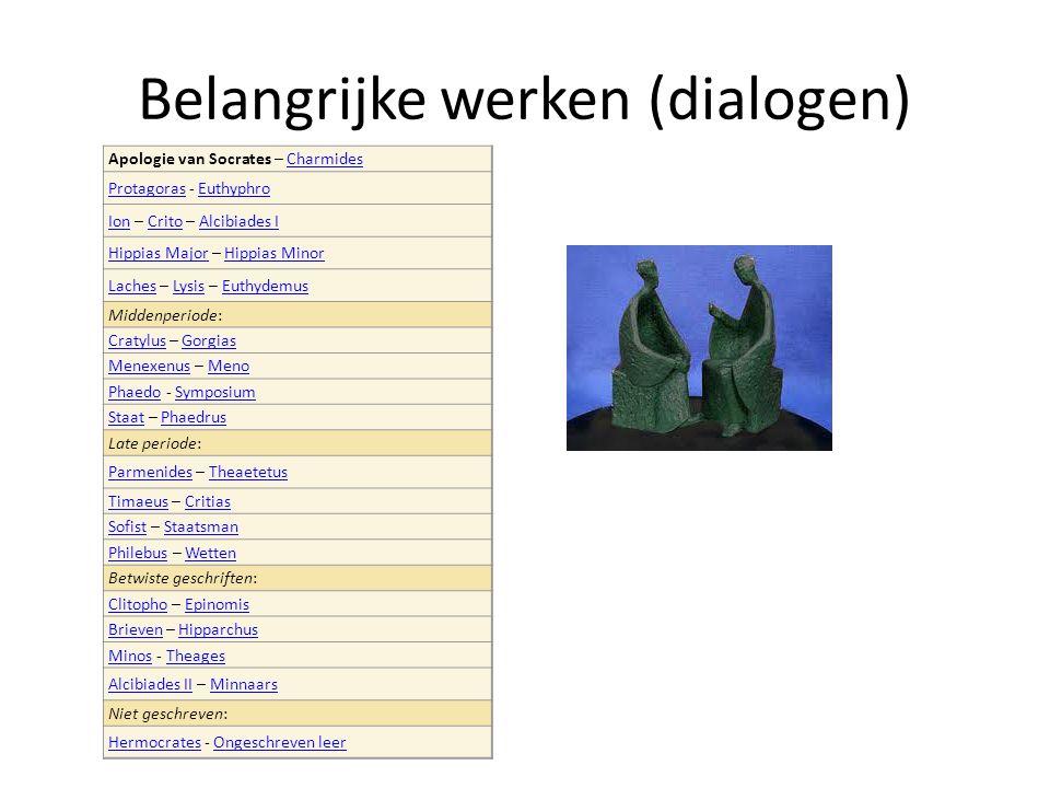 Belangrijke werken (dialogen) Apologie van Socrates – CharmidesCharmides ProtagorasProtagoras - EuthyphroEuthyphro IonIon – Crito – Alcibiades ICritoA