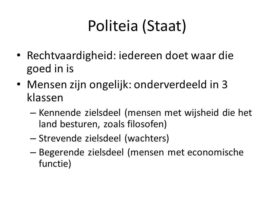 Politeia (Staat) • Rechtvaardigheid: iedereen doet waar die goed in is • Mensen zijn ongelijk: onderverdeeld in 3 klassen – Kennende zielsdeel (mensen