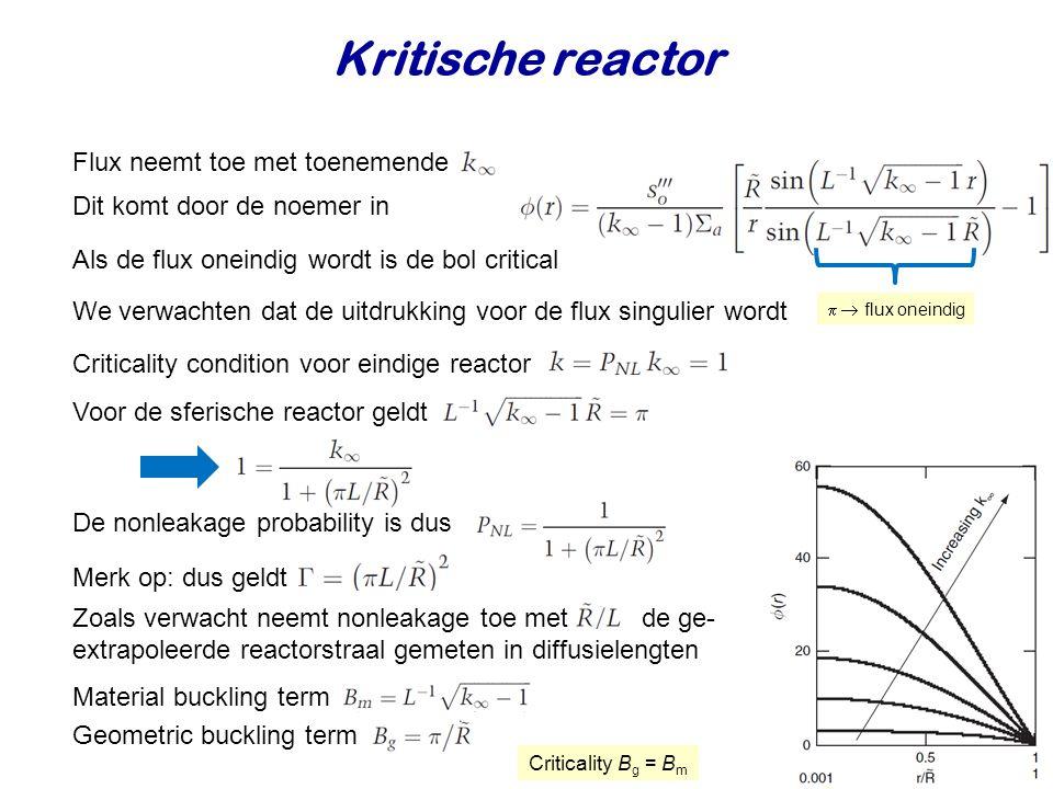 Kritische reactor Flux neemt toe met toenemende We verwachten dat de uitdrukking voor de flux singulier wordt Criticality condition voor eindige reactor Voor de sferische reactor geldt Dit komt door de noemer in De nonleakage probability is dus Merk op: dus geldt Zoals verwacht neemt nonleakage toe met de ge- extrapoleerde reactorstraal gemeten in diffusielengten   flux oneindig Als de flux oneindig wordt is de bol critical Material buckling term Geometric buckling term Criticality B g = B m