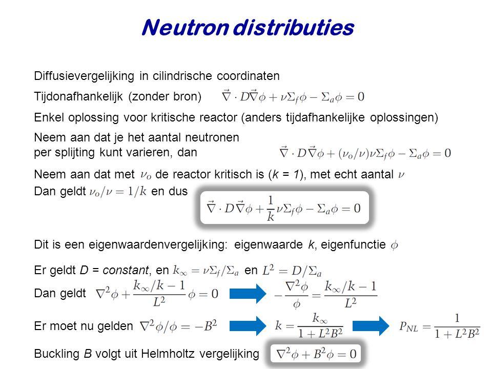 Diffusievergelijking in cilindrische coordinaten Neem aan dat je het aantal neutronen per splijting kunt varieren, dan Neem aan dat met de reactor kritisch is (k = 1), met echt aantal Tijdonafhankelijk (zonder bron) Dit is een eigenwaardenvergelijking: eigenwaarde k, eigenfunctie Er geldt D = constant, en en Dan geldt Enkel oplossing voor kritische reactor (anders tijdafhankelijke oplossingen) Er moet nu gelden Buckling B volgt uit Helmholtz vergelijking Dan geldt en dus