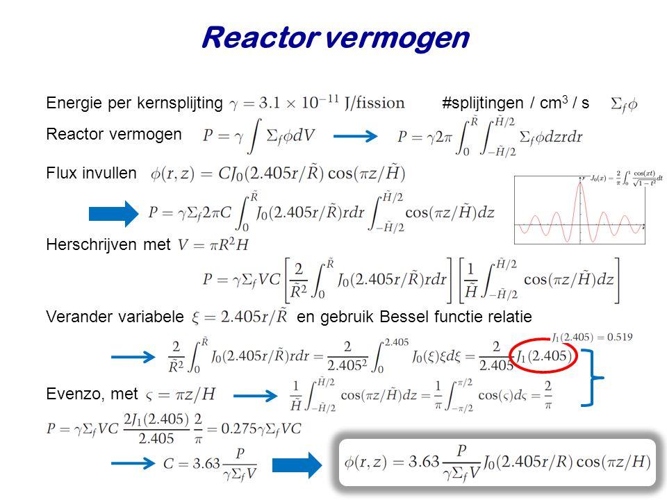 Reactor vermogen Energie per kernsplijting #splijtingen / cm 3 / s Flux invullen Herschrijven met Verander variabele en gebruik Bessel functie relatie