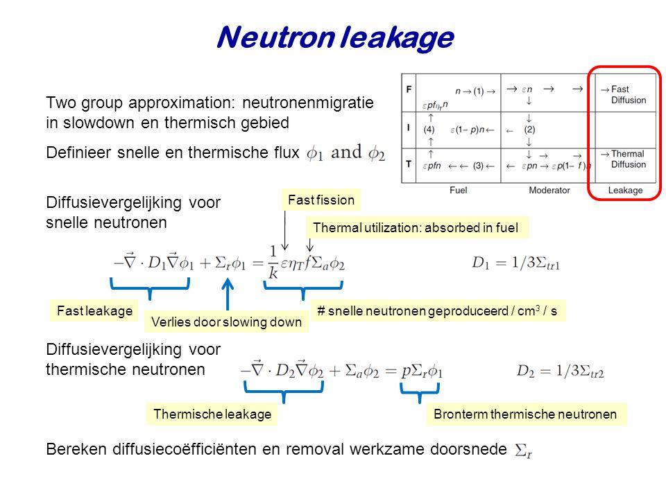 Neutron leakage Two group approximation: neutronenmigratie in slowdown en thermisch gebied Definieer snelle en thermische flux Diffusievergelijking voor snelle neutronen # snelle neutronen geproduceerd / cm 3 / s Thermal utilization: absorbed in fuel Fast fission Fast leakage Verlies door slowing down Diffusievergelijking voor thermische neutronen Thermische leakageBronterm thermische neutronen Bereken diffusiecoëfficiënten en removal werkzame doorsnede
