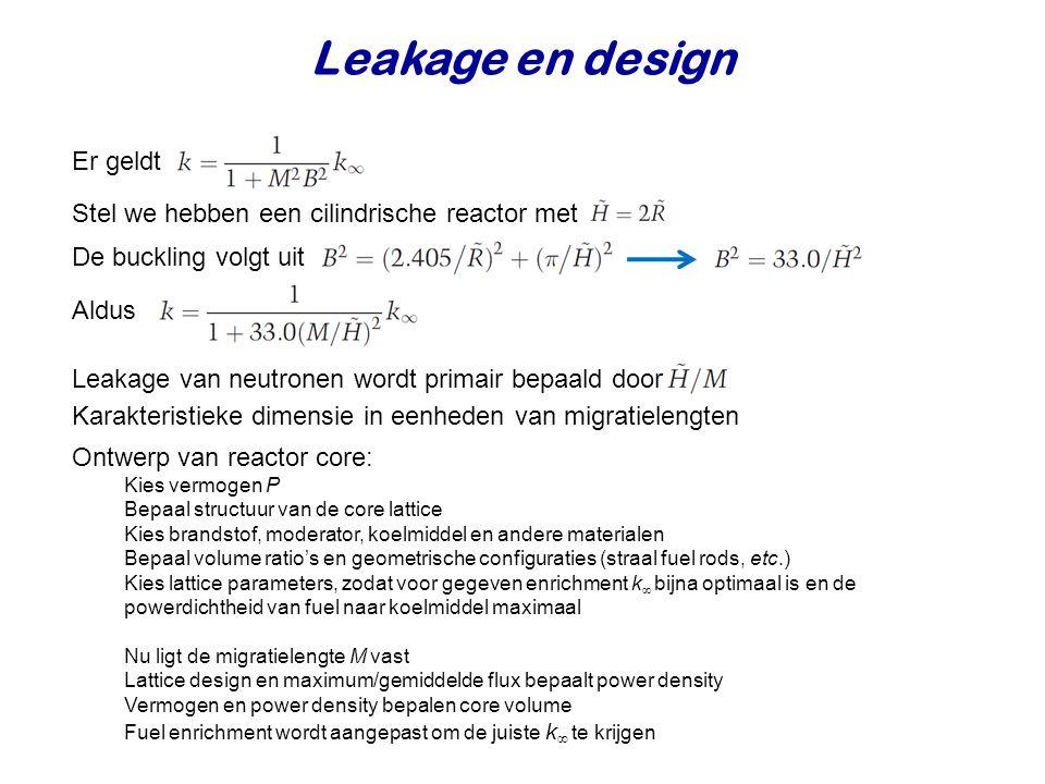 Leakage en design Er geldt Stel we hebben een cilindrische reactor met De buckling volgt uit Leakage van neutronen wordt primair bepaald door Karakter