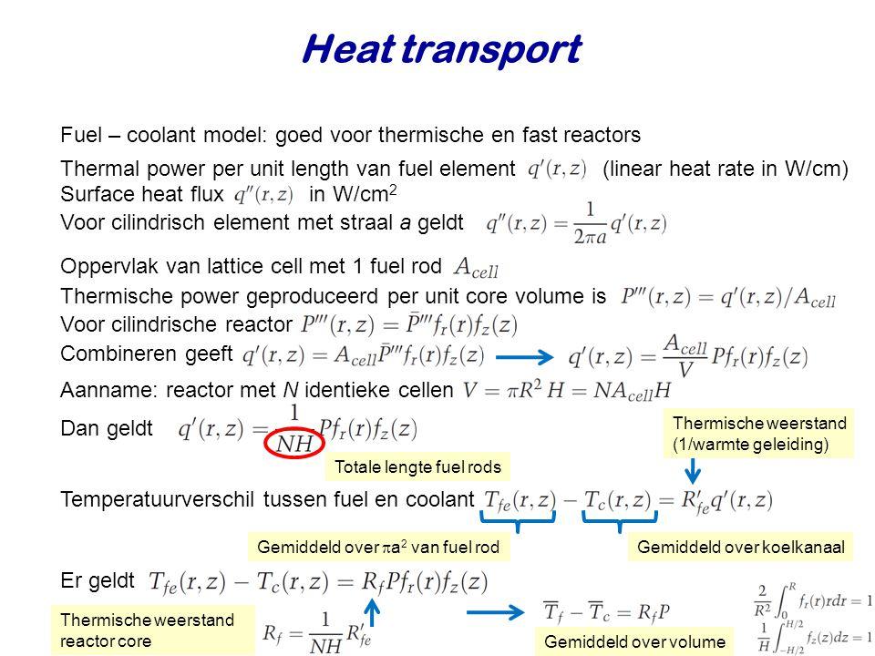 Heat transport Fuel – coolant model: goed voor thermische en fast reactors Thermal power per unit length van fuel element (linear heat rate in W/cm) V