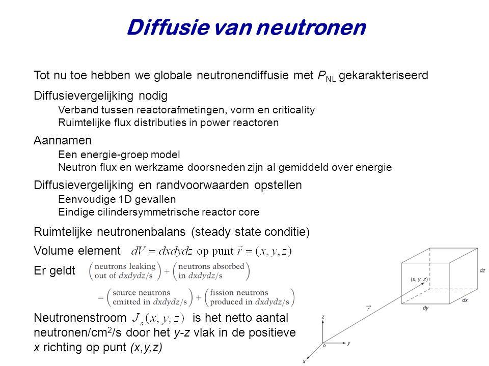 Tot nu toe hebben we globale neutronendiffusie met P NL gekarakteriseerd Diffusievergelijking nodig Verband tussen reactorafmetingen, vorm en criticality Ruimtelijke flux distributies in power reactoren Diffusievergelijking en randvoorwaarden opstellen Eenvoudige 1D gevallen Eindige cilindersymmetrische reactor core Ruimtelijke neutronenbalans (steady state conditie) Er geldt Neutronenstroom is het netto aantal neutronen/cm 2 /s door het y-z vlak in de positieve x richting op punt (x,y,z) Volume element Aannamen Een energie-groep model Neutron flux en werkzame doorsneden zijn al gemiddeld over energie