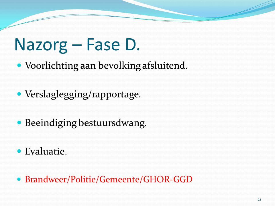 Nazorg – Fase D.  Voorlichting aan bevolking afsluitend.  Verslaglegging/rapportage.  Beeindiging bestuursdwang.  Evaluatie.  Brandweer/Politie/G