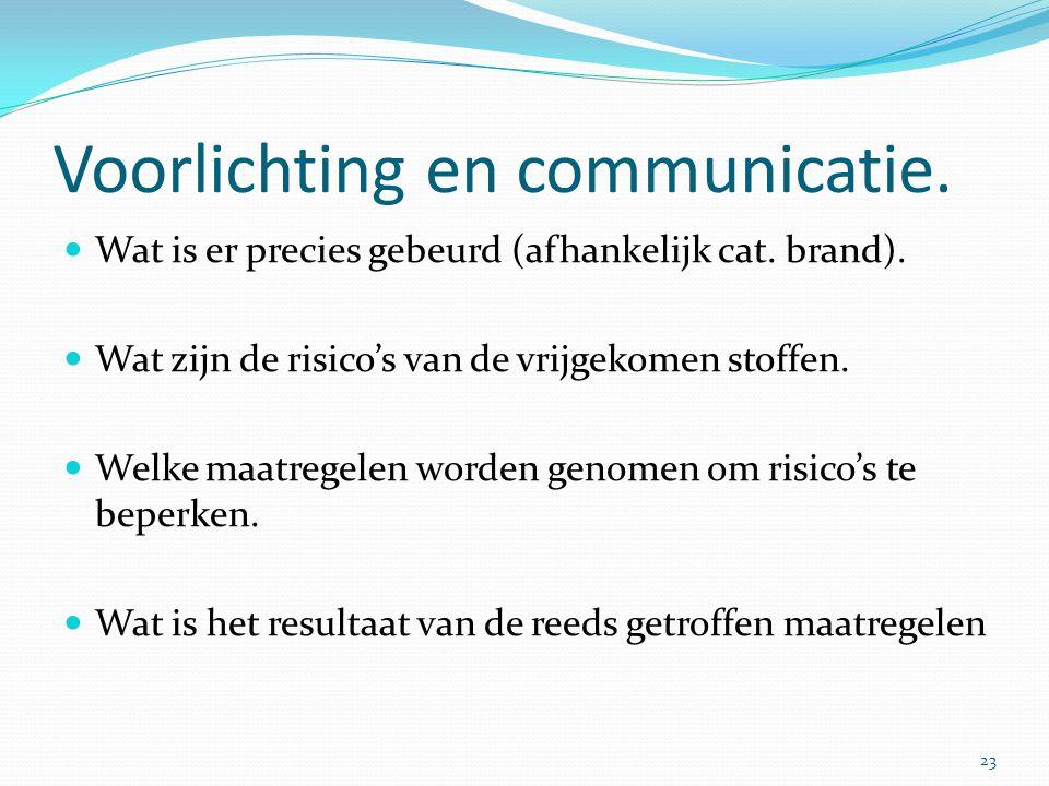 Voorlichting en communicatie.  Wat is er precies gebeurd (afhankelijk cat. brand).  Wat zijn de risico's van de vrijgekomen stoffen.  Welke maatreg