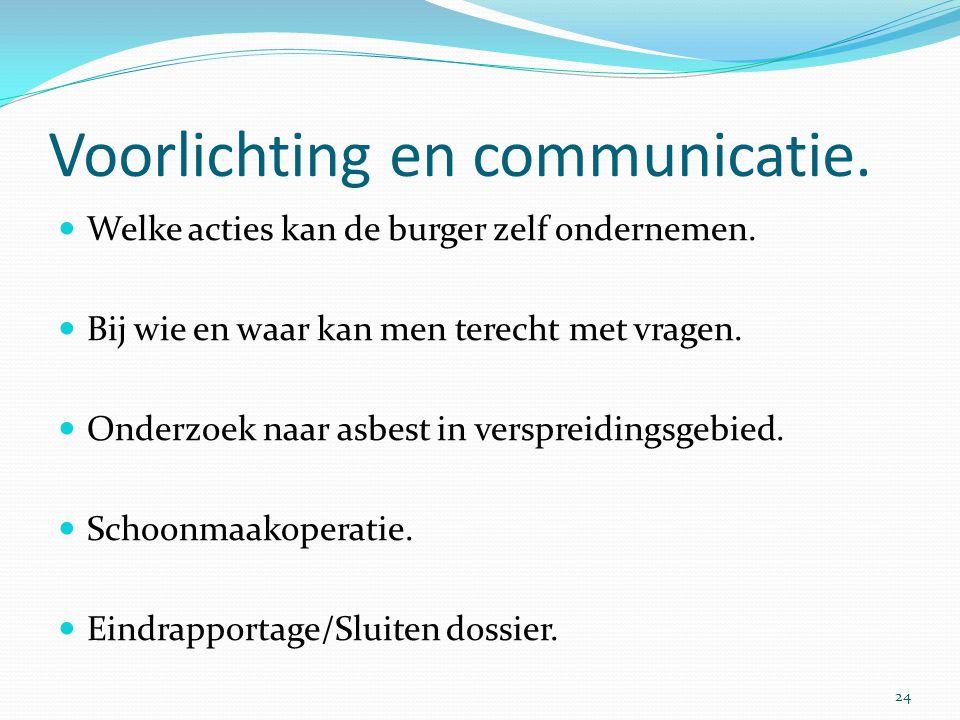 Voorlichting en communicatie.  Welke acties kan de burger zelf ondernemen.  Bij wie en waar kan men terecht met vragen.  Onderzoek naar asbest in v