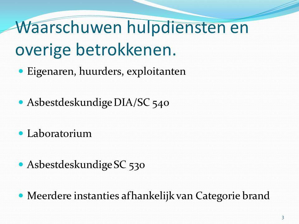 Waarschuwen hulpdiensten en overige betrokkenen.  Eigenaren, huurders, exploitanten  Asbestdeskundige DIA/SC 540  Laboratorium  Asbestdeskundige S