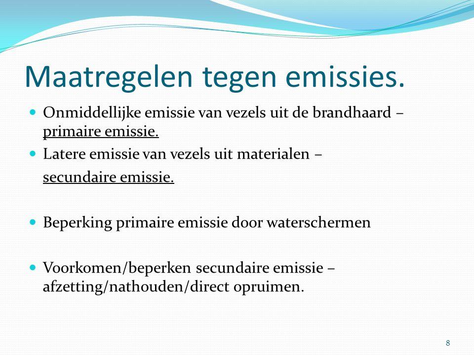 Maatregelen tegen emissies.  Onmiddellijke emissie van vezels uit de brandhaard – primaire emissie.  Latere emissie van vezels uit materialen – secu