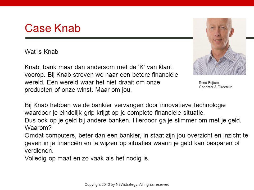 Copyright 2013 by N3Wstrategy. All rights reserved Case Knab Wat is Knab Knab, bank maar dan andersom met de 'K' van klant voorop. Bij Knab streven we