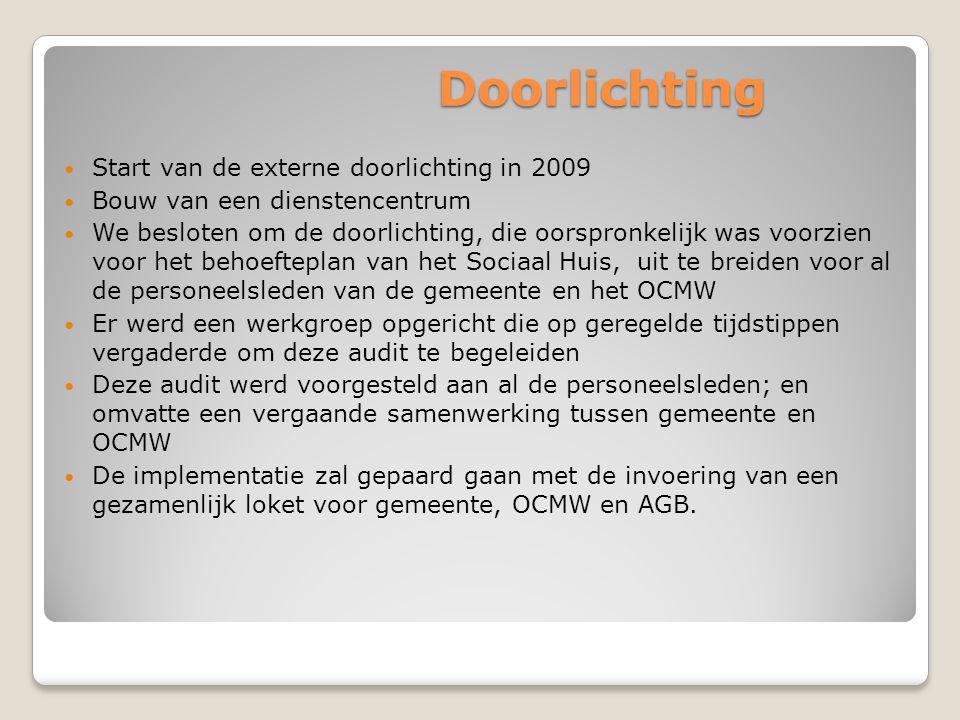 Doorlichting  Start van de externe doorlichting in 2009  Bouw van een dienstencentrum  We besloten om de doorlichting, die oorspronkelijk was voorz