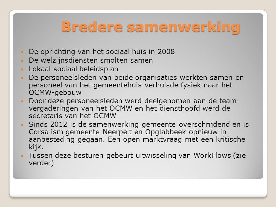 Bredere samenwerking  De oprichting van het sociaal huis in 2008  De welzijnsdiensten smolten samen  Lokaal sociaal beleidsplan  De personeelslede