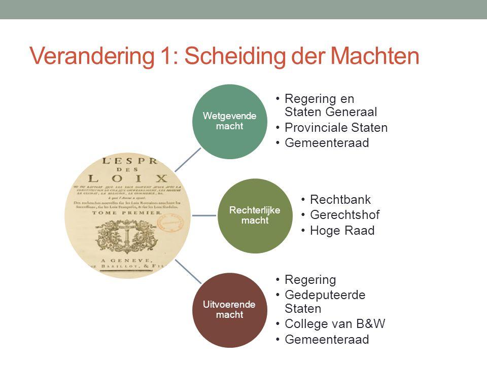 Verandering 2: Grondrechten • In een grondwet staat hoe een land geregeerd moet worden en wat de rechten van burger zijn.