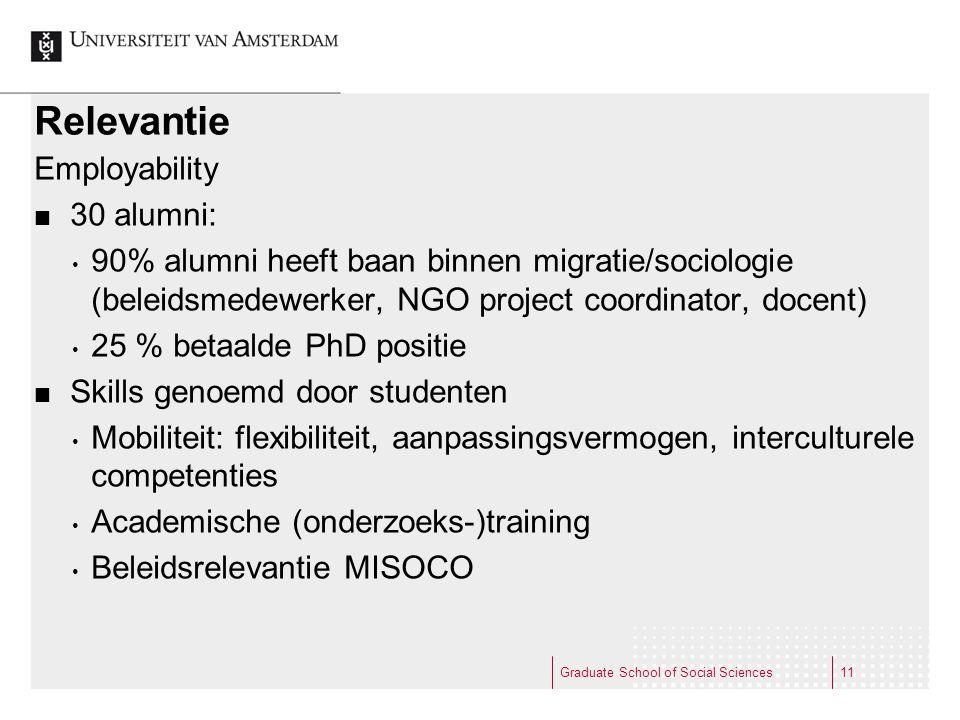Relevantie Employability 30 alumni: • 90% alumni heeft baan binnen migratie/sociologie (beleidsmedewerker, NGO project coordinator, docent) • 25 % bet