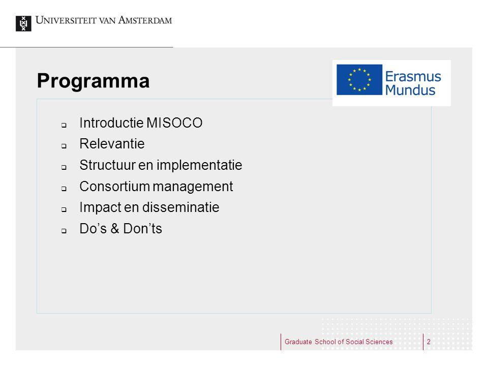 2 Programma  Introductie MISOCO  Relevantie  Structuur en implementatie  Consortium management  Impact en disseminatie  Do's & Don'ts