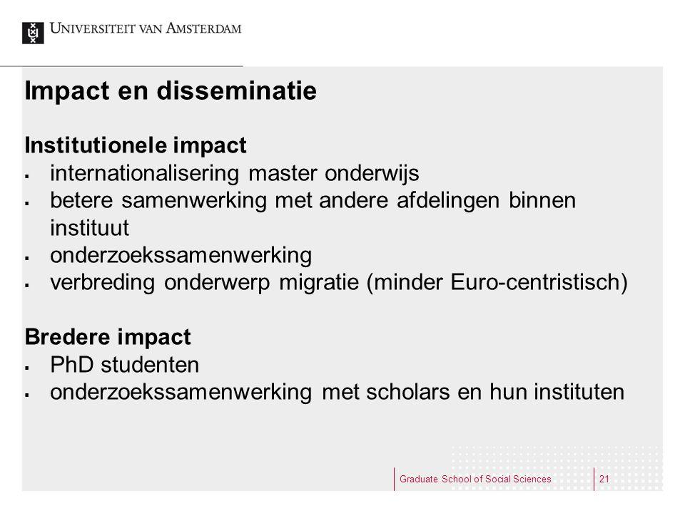 Graduate School of Social Sciences21 Impact en disseminatie Institutionele impact  internationalisering master onderwijs  betere samenwerking met an