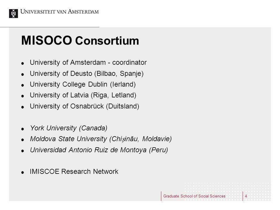 MISOCO Consortium  University of Amsterdam - coordinator  University of Deusto (Bilbao, Spanje)  University College Dublin (Ierland)  University o