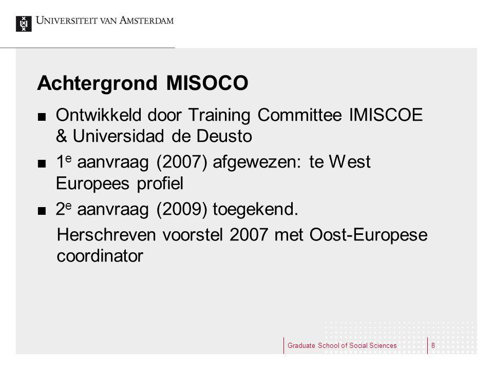 Achtergrond MISOCO Ontwikkeld door Training Committee IMISCOE & Universidad de Deusto 1 e aanvraag (2007) afgewezen: te West Europees profiel 2 e aanv