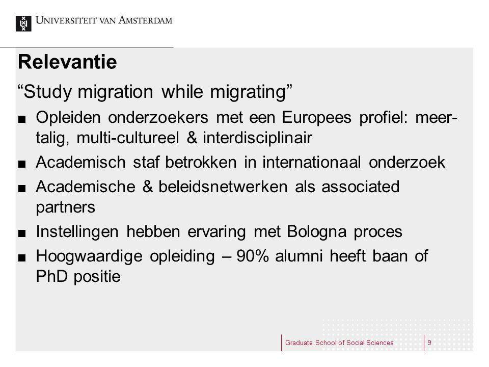 """Relevantie """"Study migration while migrating"""" Opleiden onderzoekers met een Europees profiel: meer- talig, multi-cultureel & interdisciplinair Academis"""