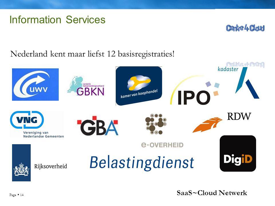Page  14 SaaS~Cloud Netwerk Information Services Nederland kent maar liefst 12 basisregistraties!