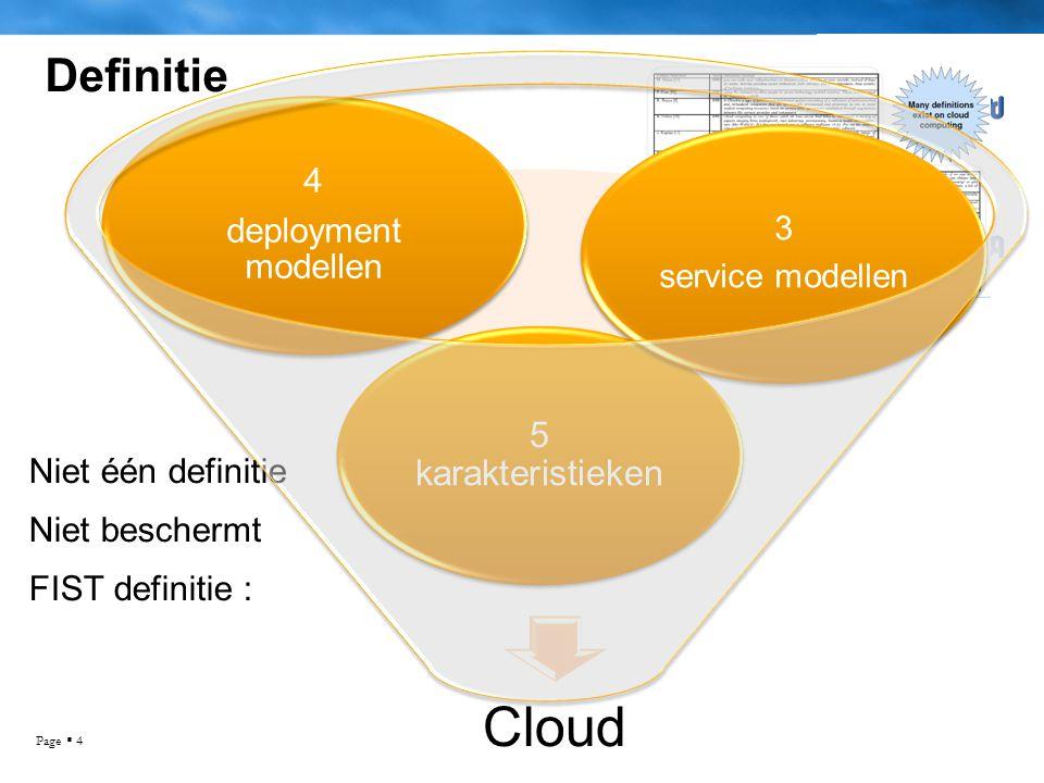 Page  4 Definitie Niet één definitie Niet beschermt FIST definitie : Cloud 5 karakteristieken 4 deployment modellen 3 service modellen