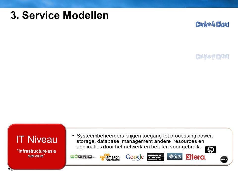 Page  6 3. Service Modellen •Systeembeheerders krijgen toegang tot processing power, storage, database, management andere resources en applicaties do