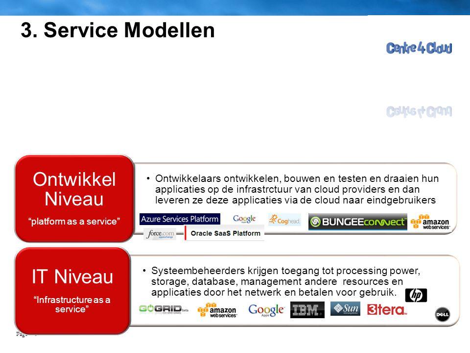Page  8 3. Service Modellen •Ontwikkelaars ontwikkelen, bouwen en testen en draaien hun applicaties op de infrastrctuur van cloud providers en dan le