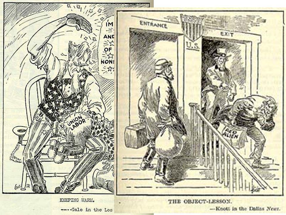 1919-1920 Red Scare • Na Russische Revolutie  aanhang com./soc.  • Recessie na WO I > stakingen  Reactie overheid scherp (zie cartoons): arrestatie