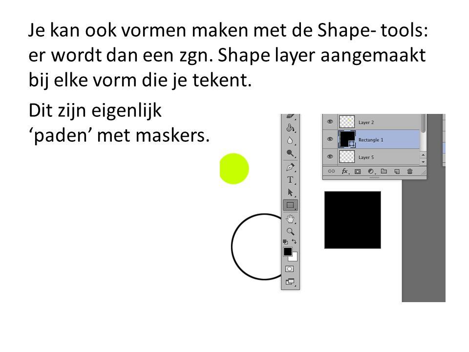 Je kan ook vormen maken met de Shape- tools: er wordt dan een zgn.