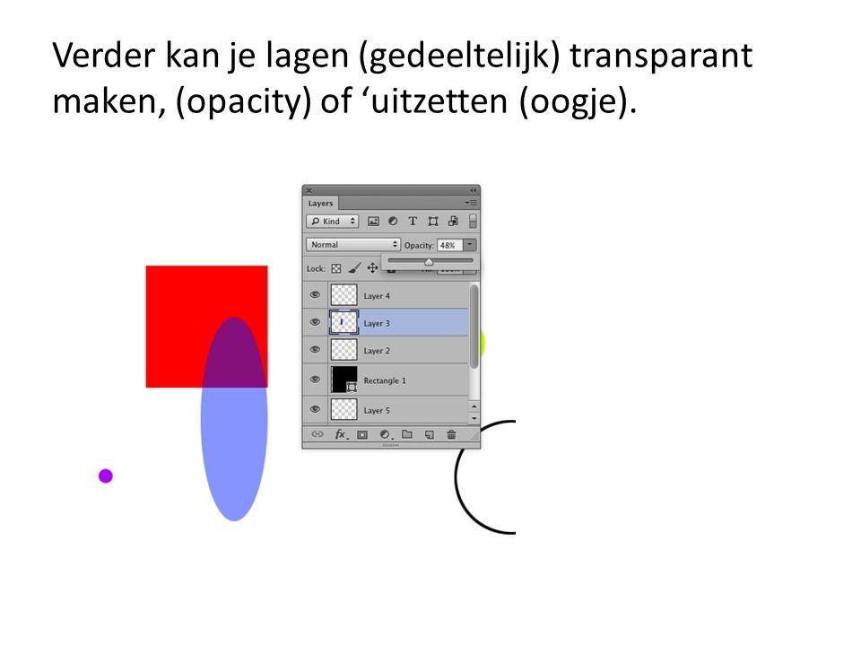 Verder kan je lagen (gedeeltelijk) transparant maken, (opacity) of 'uitzetten (oogje).
