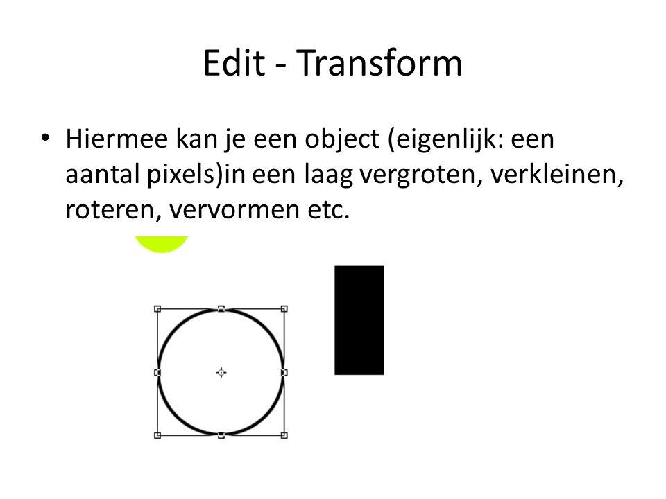Edit - Transform • Hiermee kan je een object (eigenlijk: een aantal pixels)in een laag vergroten, verkleinen, roteren, vervormen etc.