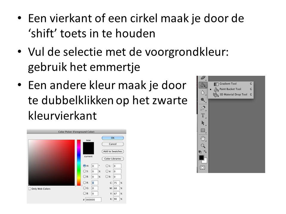• Een vierkant of een cirkel maak je door de 'shift' toets in te houden • Vul de selectie met de voorgrondkleur: gebruik het emmertje • Een andere kleur maak je door te dubbelklikken op het zwarte kleurvierkant
