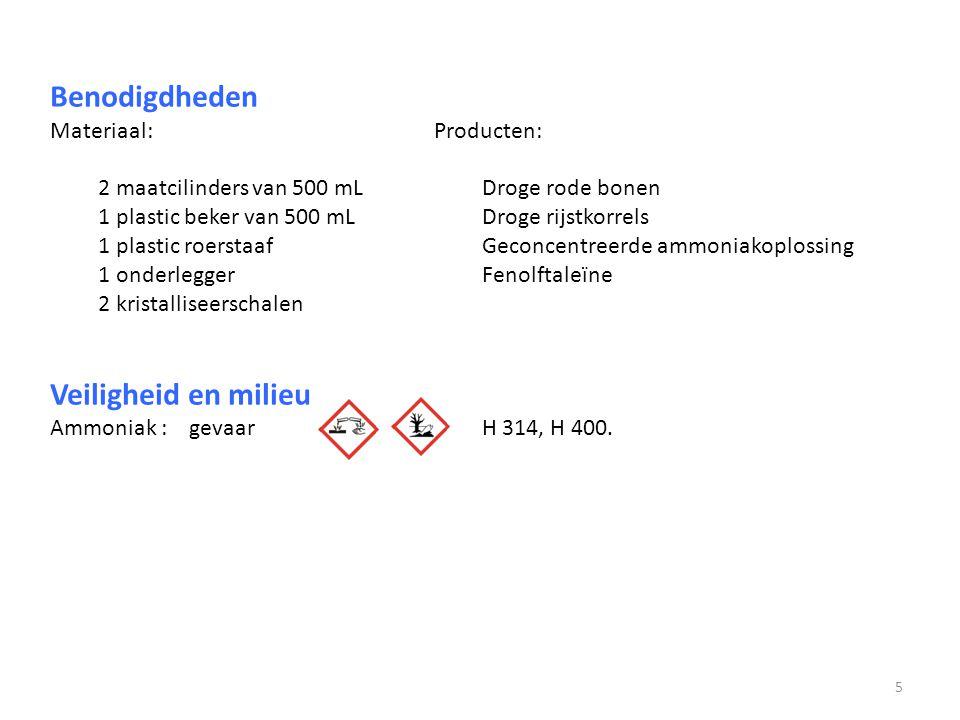 Benodigdheden Materiaal:Producten: 2 maatcilinders van 500 mLDroge rode bonen 1 plastic beker van 500 mLDroge rijstkorrels 1 plastic roerstaafGeconcen