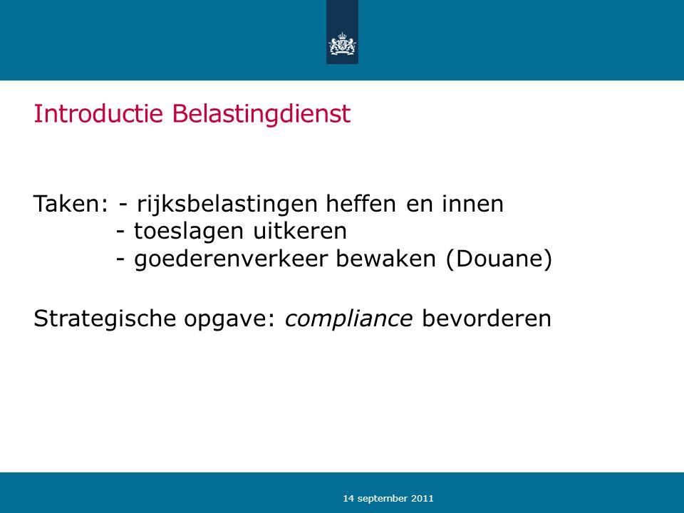 Introductie Belastingdienst Taken: - rijksbelastingen heffen en innen - toeslagen uitkeren - goederenverkeer bewaken (Douane) Strategische opgave: com