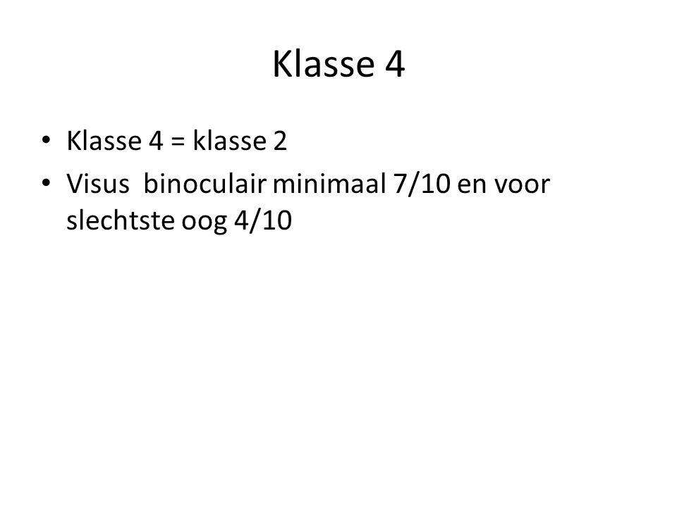 Klasse 4 • Klasse 4 = klasse 2 • Visus binoculair minimaal 7/10 en voor slechtste oog 4/10
