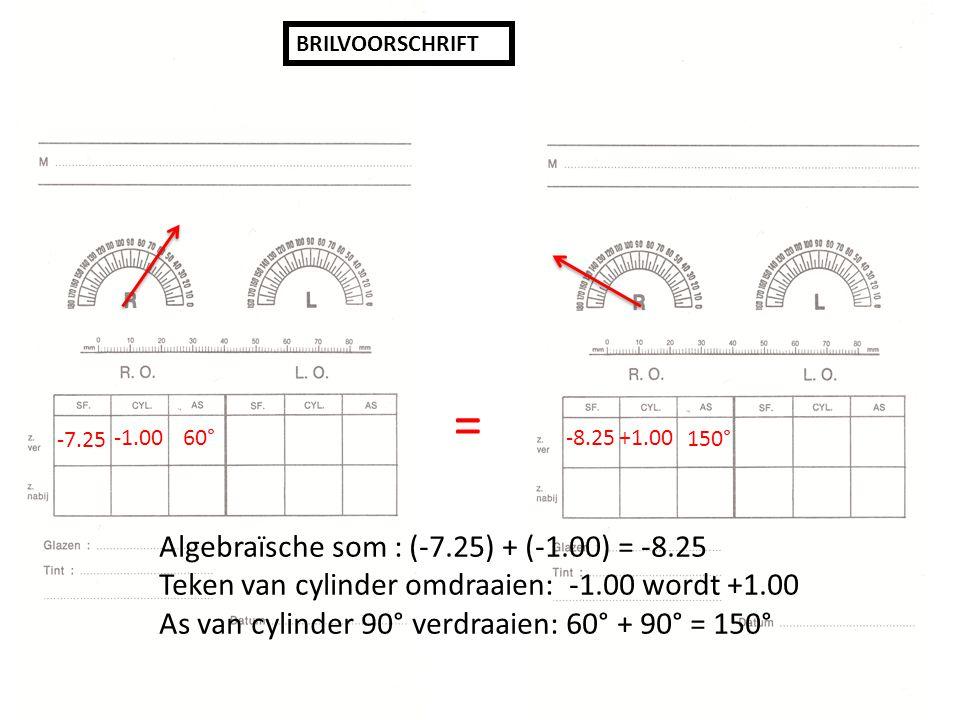-7.25 60° -8.25 +1.00 150° = Algebraïsche som : (-7.25) + (-1.00) = -8.25 Teken van cylinder omdraaien: -1.00 wordt +1.00 As van cylinder 90° verdraaien: 60° + 90° = 150°