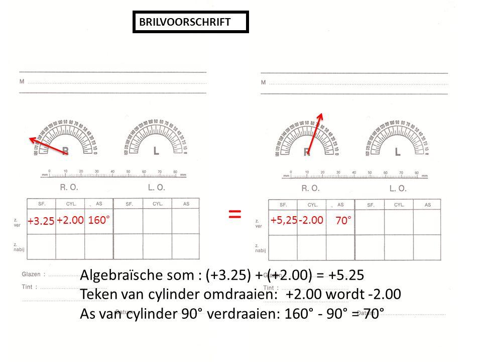 BRILVOORSCHRIFT +3.25 +2.00160° +5,25 -2.00 70° = Algebraïsche som : (+3.25) + (+2.00) = +5.25 Teken van cylinder omdraaien: +2.00 wordt -2.00 As van cylinder 90° verdraaien: 160° - 90° = 70°