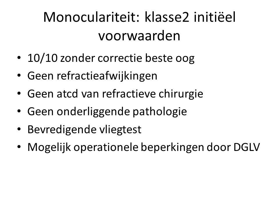 Monoculariteit: klasse2 initiëel voorwaarden • 10/10 zonder correctie beste oog • Geen refractieafwijkingen • Geen atcd van refractieve chirurgie • Geen onderliggende pathologie • Bevredigende vliegtest • Mogelijk operationele beperkingen door DGLV