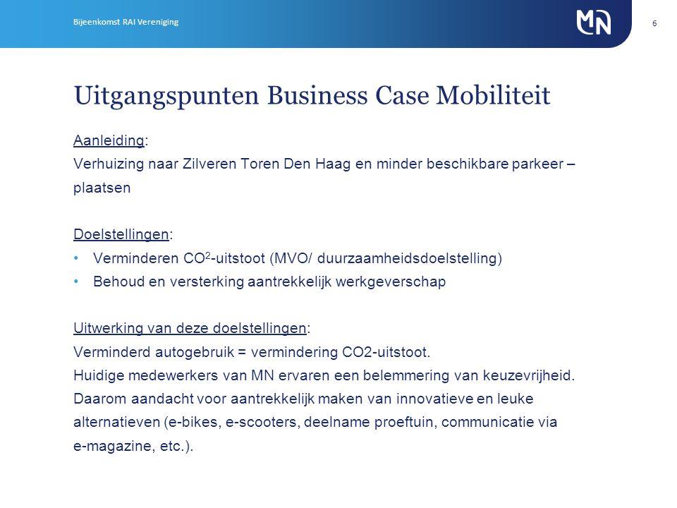 Uitgangspunten Business Case Mobiliteit Aanleiding: Verhuizing naar Zilveren Toren Den Haag en minder beschikbare parkeer – plaatsen Doelstellingen: •Verminderen CO 2 -uitstoot (MVO/ duurzaamheidsdoelstelling) •Behoud en versterking aantrekkelijk werkgeverschap Uitwerking van deze doelstellingen: Verminderd autogebruik = vermindering CO2-uitstoot.