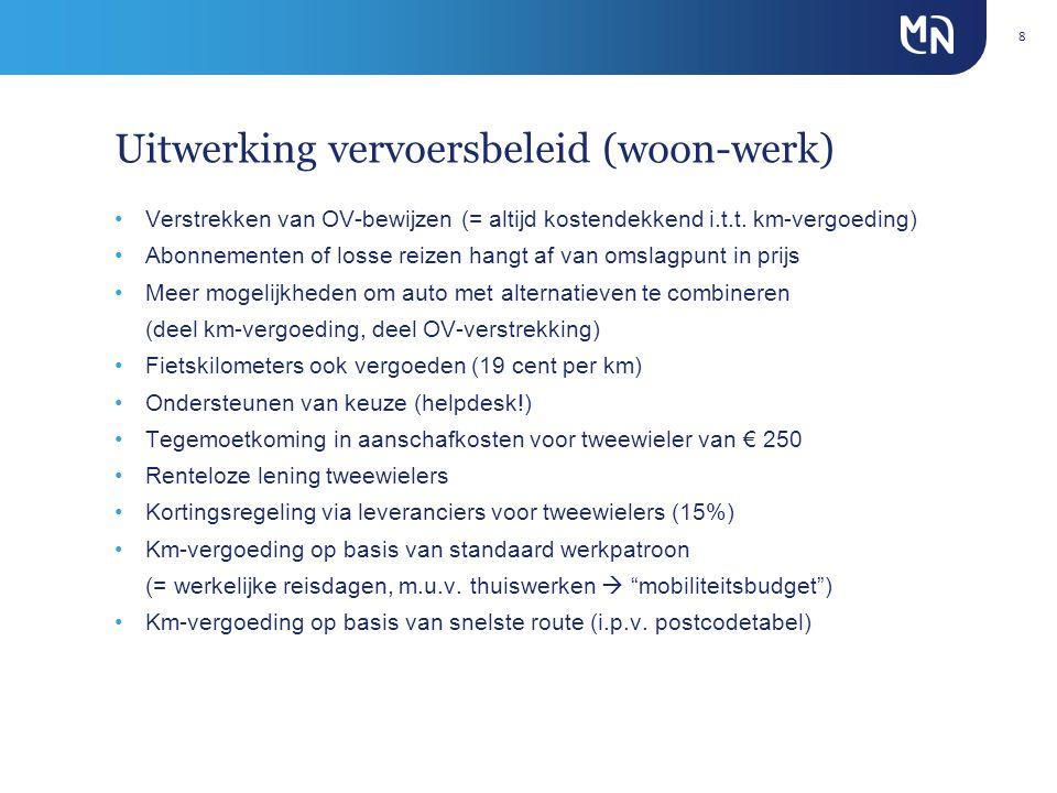 Uitwerking vervoersbeleid (woon-werk) •Verstrekken van OV-bewijzen (= altijd kostendekkend i.t.t.