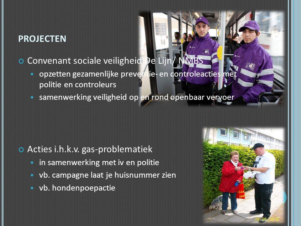PROJECTEN Convenant sociale veiligheid De Lijn/ NMBS  opzetten gezamenlijke preventie- en controleacties met politie en controleurs  samenwerking ve