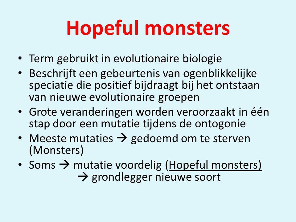 Hopeful monsters • Term gebruikt in evolutionaire biologie • Beschrijft een gebeurtenis van ogenblikkelijke speciatie die positief bijdraagt bij het ontstaan van nieuwe evolutionaire groepen • Grote veranderingen worden veroorzaakt in één stap door een mutatie tijdens de ontogonie • Meeste mutaties  gedoemd om te sterven (Monsters) • Soms  mutatie voordelig (Hopeful monsters)  grondlegger nieuwe soort