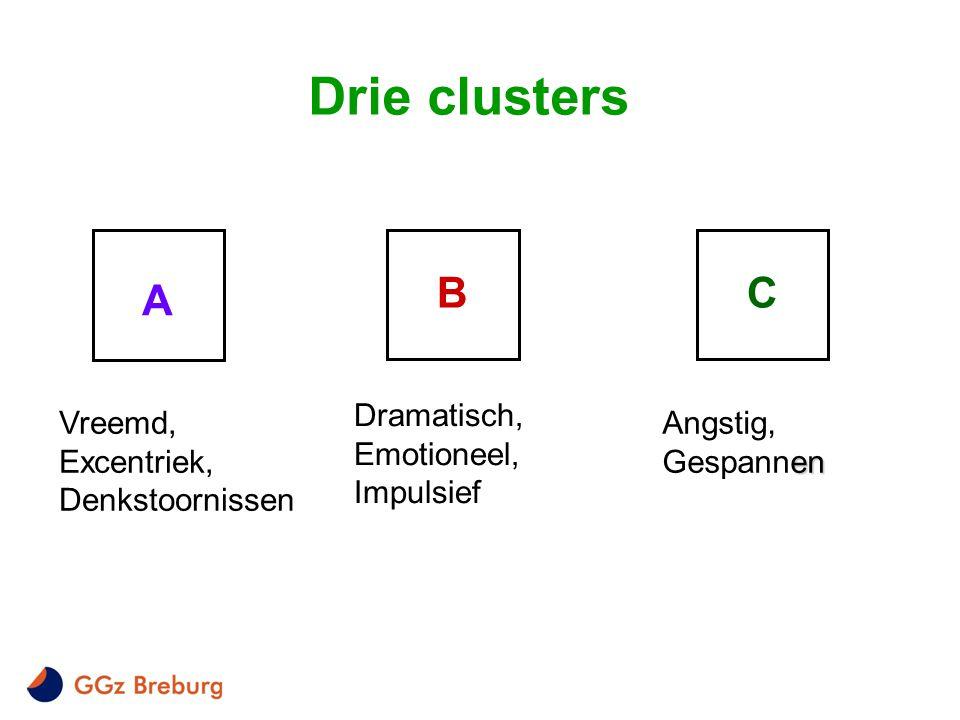 A BC Drie clusters Dramatisch, Emotioneel, Impulsief Vreemd, Excentriek, Denkstoornissen en Angstig, Gespannen