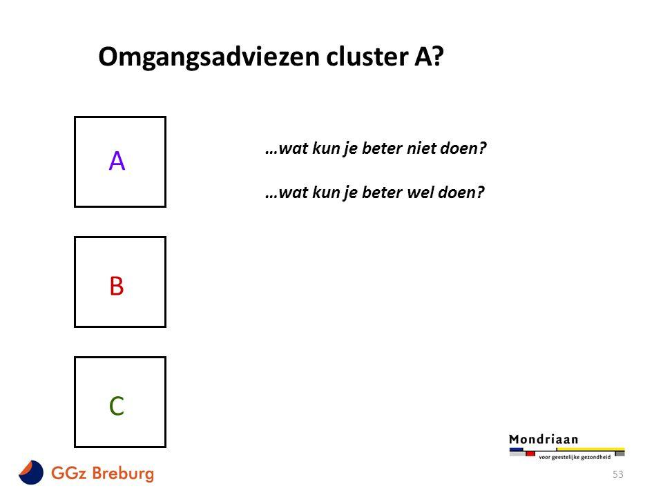 53 Omgangsadviezen cluster A? A B C …wat kun je beter niet doen? …wat kun je beter wel doen?